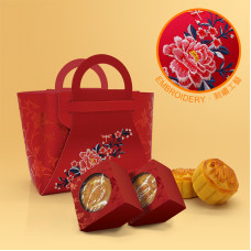 中秋月餅刺繡禮盒套裝連月餅